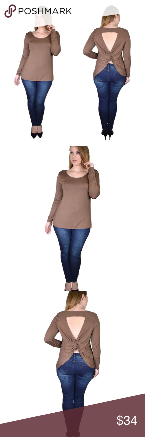 Taupe brown open back top Please see details in pictures if you have any other questions please let me know ! Tops