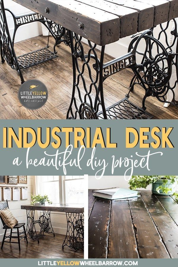 Farmhouse style home office with sewing machine treadle desk and custom command center. #Woodworking projects. #officedesk #industrialdesk