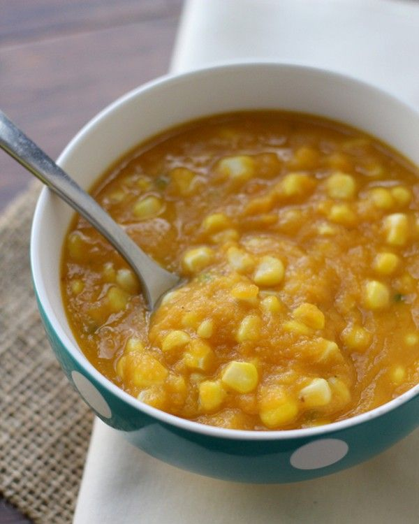 Sweet potato, corn and jalapeno bisque from  Eats Well with Others