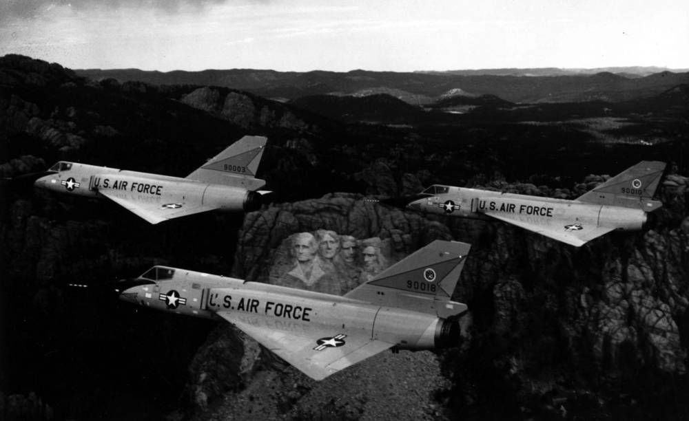 Convair F-106A Delta Darts • Photo - Over Mt. Rushmore The Convair F-106 Delta Dart was the primary all-weather interceptor aircraft for the United States Air Force from the 1960s through the 1980s. First flight 1956.