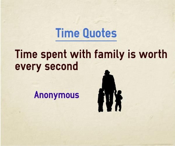 Time Quotes Time Spent With Family Is Worth Every Second Quote By