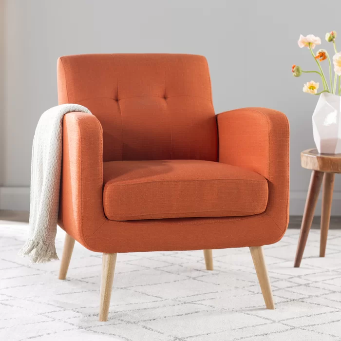 Langley Street Valmy Lounge Chair Reviews Wayfair Furniture Armchair Orange Accent Chair