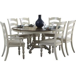 Tucker Hill Wheat Ladder Back Whitewash Pine Round Dining Set