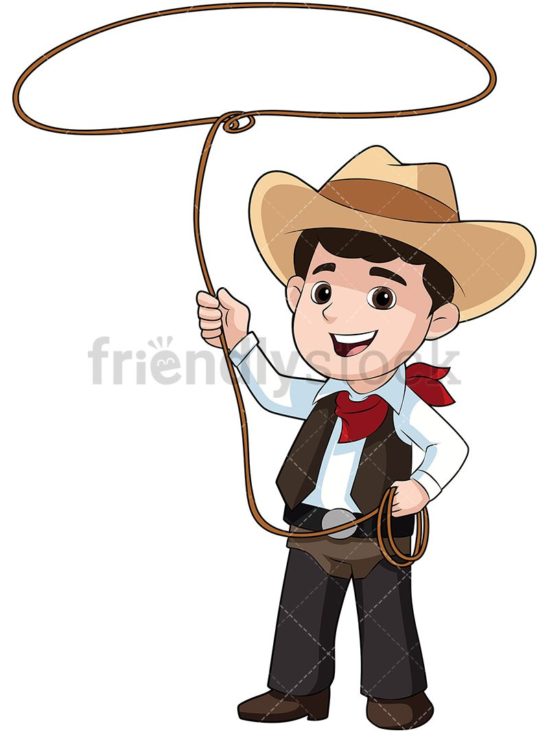 9ca358d7ba8 Kid Dressed As Cowboy With Lasso  Royalty-free stock vector illustration of  a smiling little boy dressed as a cowboy and throwing a lasso. He is wearing  a ...