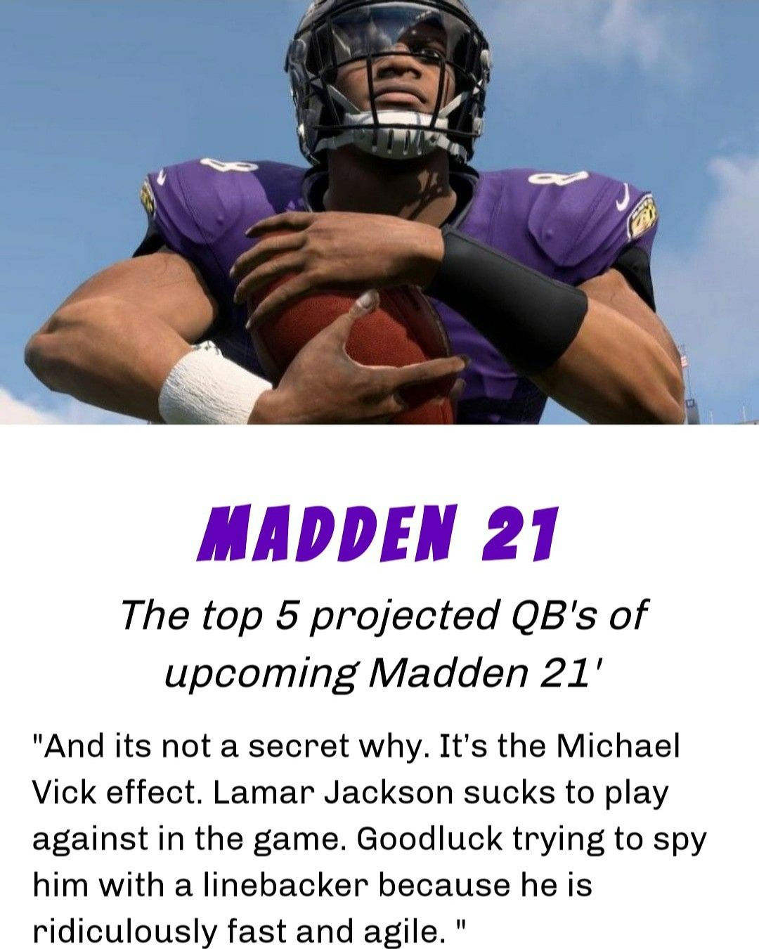 We have ranked the projected top 5 Qb's in the upcoming Madden 21'