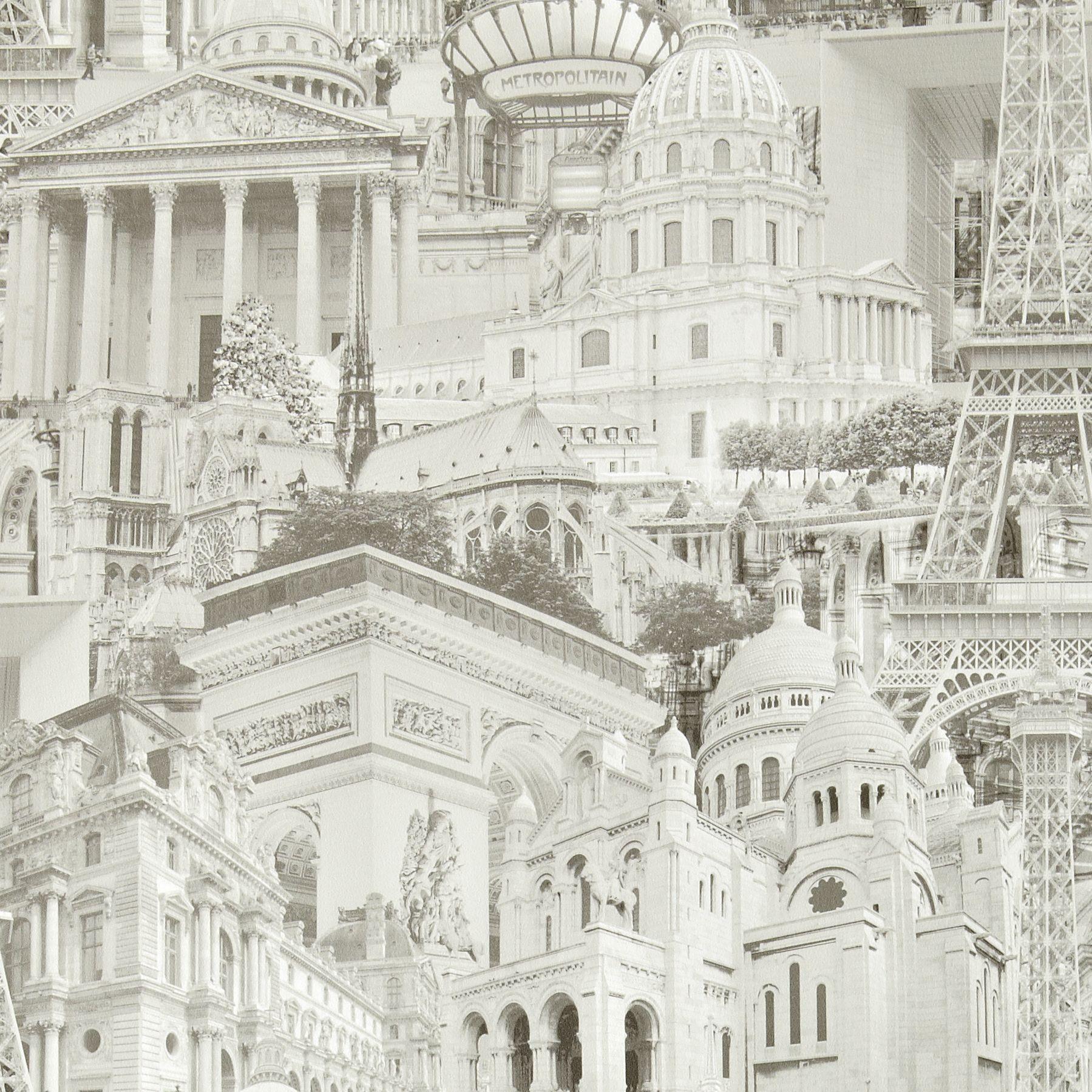 Gold Paris Cream Grey Wallpaper Departments Diy At B Q Grey Wallpaper Grey And Cream Wallpaper Feature Wall Wallpaper