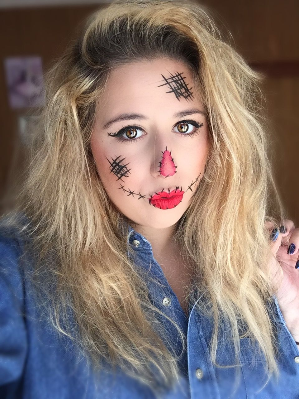Easy Halloween Makeup Tutorial Scarecrow Pinterest