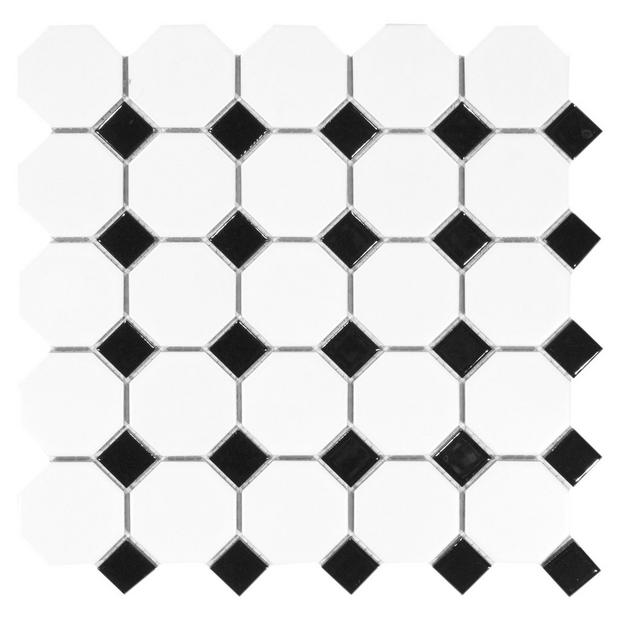 White And Black Dot Octagonal Ii Porcelain Mosaic Floor Decor Porcelain Mosaic Mosaic Flooring Black Dots