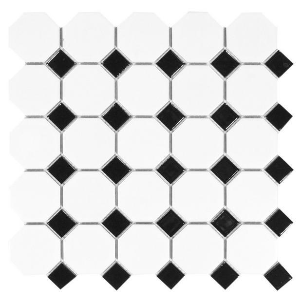 White And Black Dot Octagonal Ii Porcelain Mosaic Floor Decor Porcelain Mosaic Mosaic Flooring Black Dots