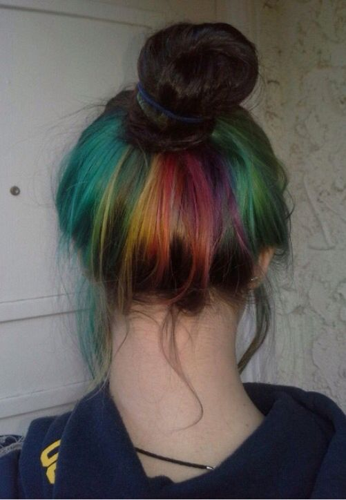 Super Cute Rainbow Hair Under Layer Dyed Hidden Hair Color Hidden Rainbow Hair Rainbow Hair Color