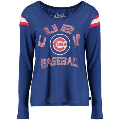 Women's Chicago Cubs Touch by Alyssa Milano Royal Cascade Long Sleeve T-Shirt