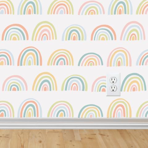 Rainbow Wallpaper Self Adhesive Girls Room Wallpaper Rainbow Wallpaper Playroom Decor