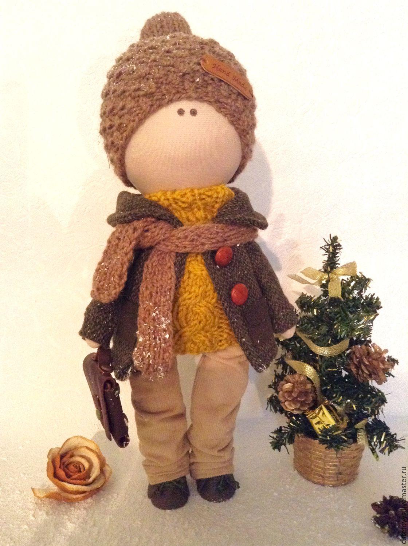 Купить Интерьерная кукла Мальчик с портфелем - интерьерная кукла, кукла мальчик, кукла в подарок