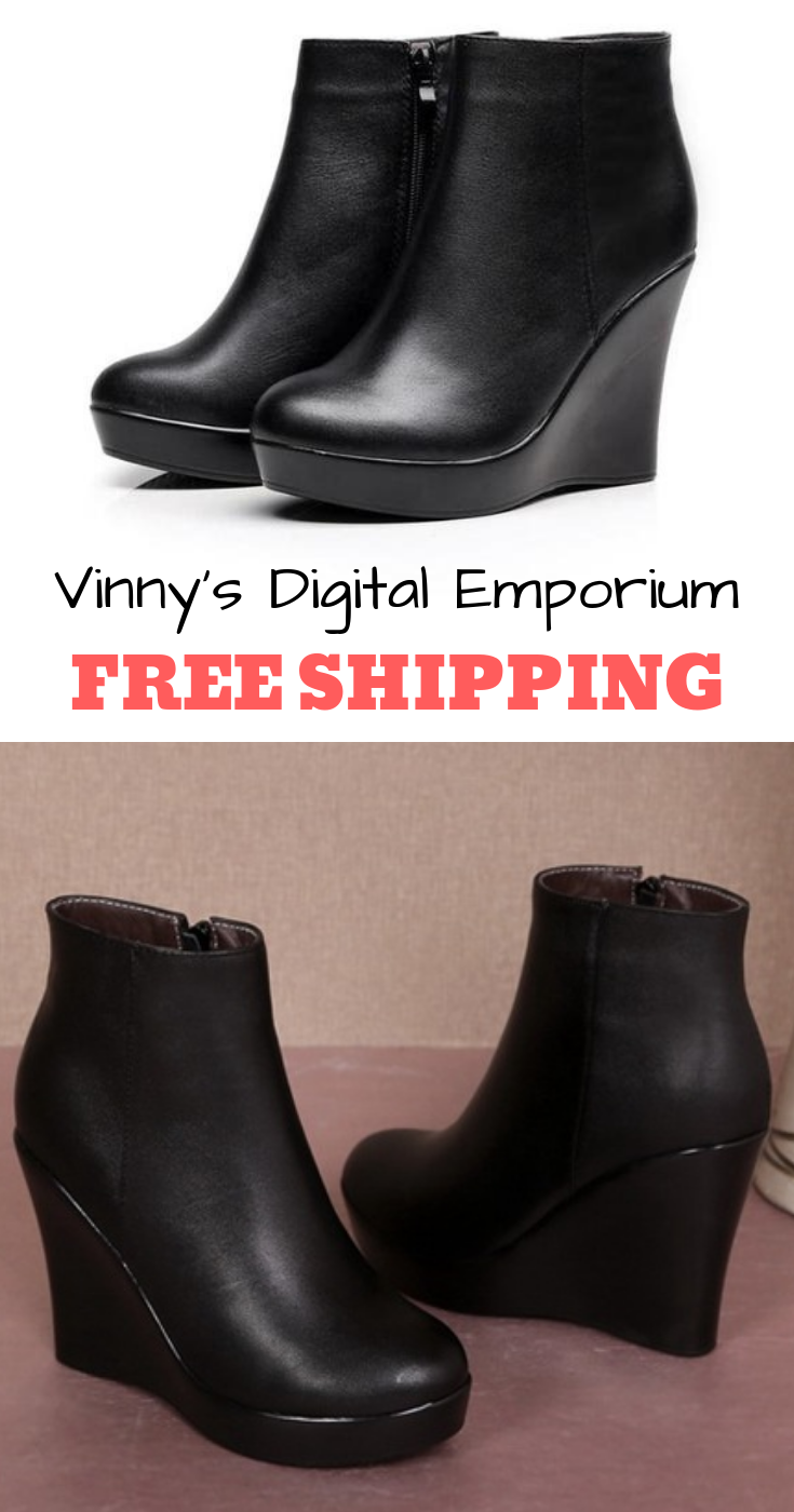 stable quality lowest discount sleek Genuine Leather Platform Boots   Womens Wedge Heels Boots ...