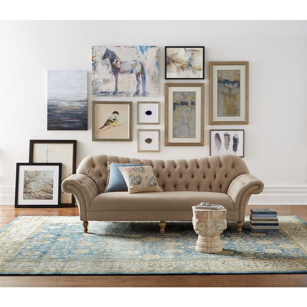Home Decorators Collection Arden Peacock Polyester Sofa 1599000280 The Home Depot Beige Couch Living Room Beige Sofa Living Room Home Decorators Collection
