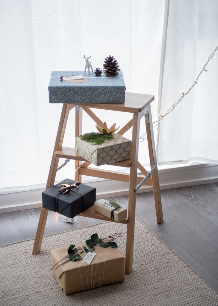Creative holiday gift wrap from Umbra product designers Jade Dumrath and Adrienna Matzeg.
