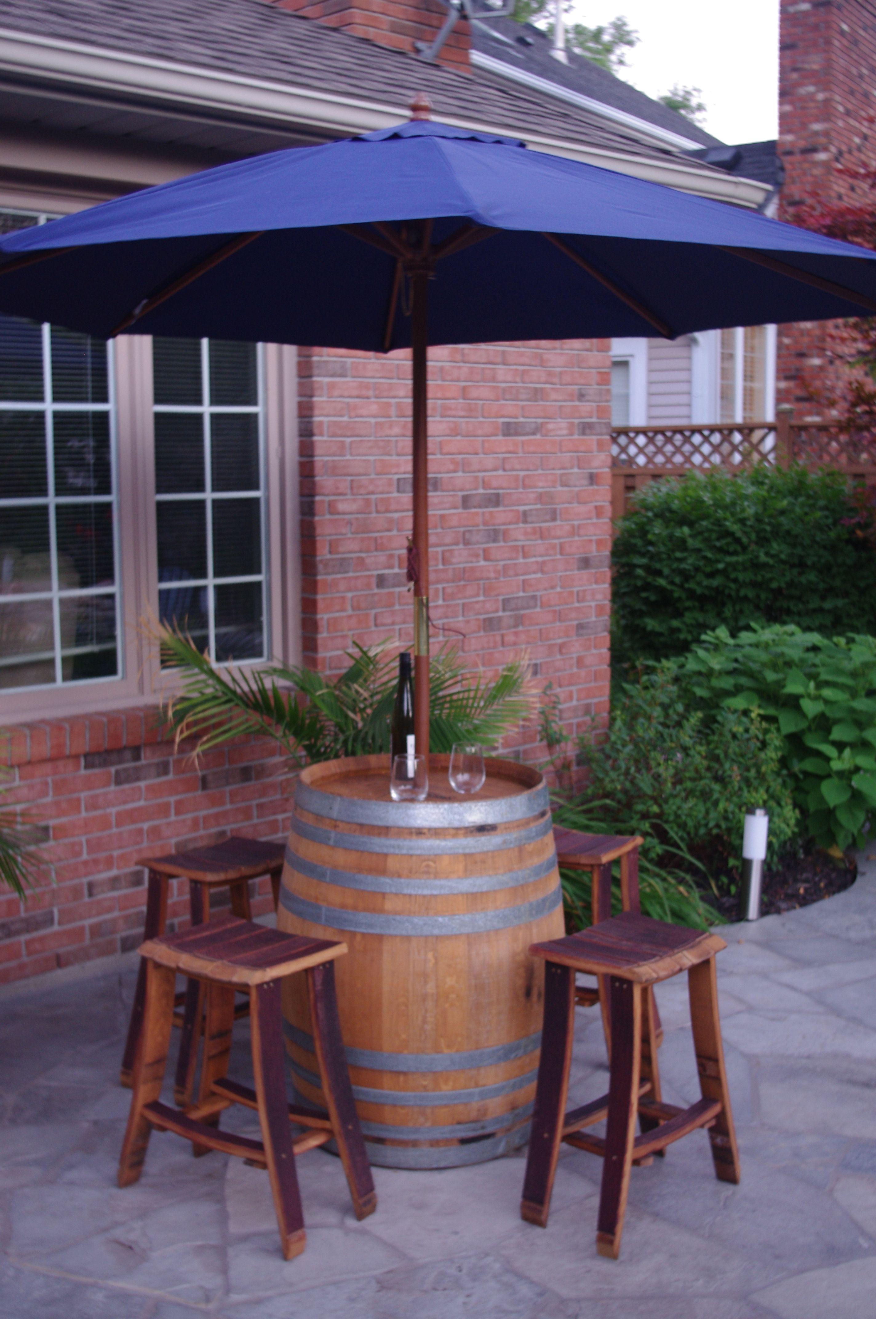 Wine Barrel Bar Table With Umbrella 4