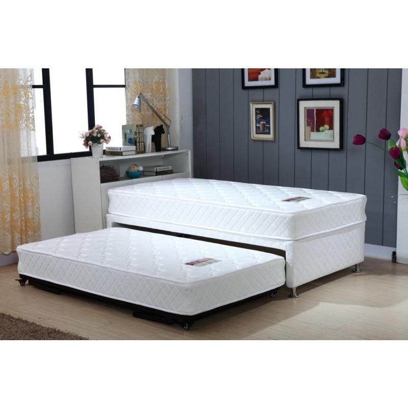 Single White Bed Frame With Trundle 2 Mattresses Buy Kids Twin