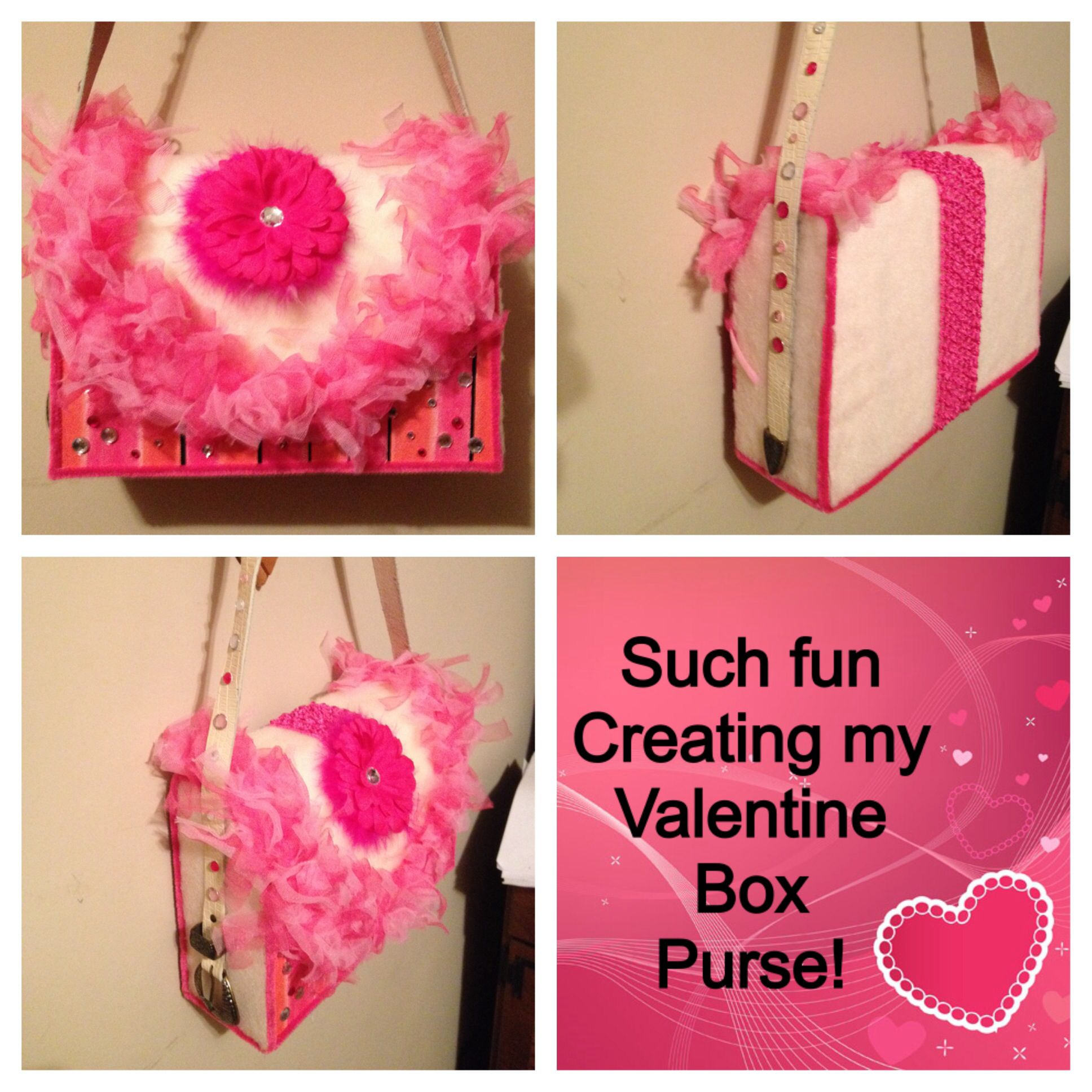 Valentine's box, purse. Recycled, repurposed, reused! Old card box, old plush felt from long ago craft projects, my Mama's old belt. Add to that some Dollar Store finds: a little girl's feather boa, a baby's flower headband, pipe cleaners, a little bling & hot glue!!