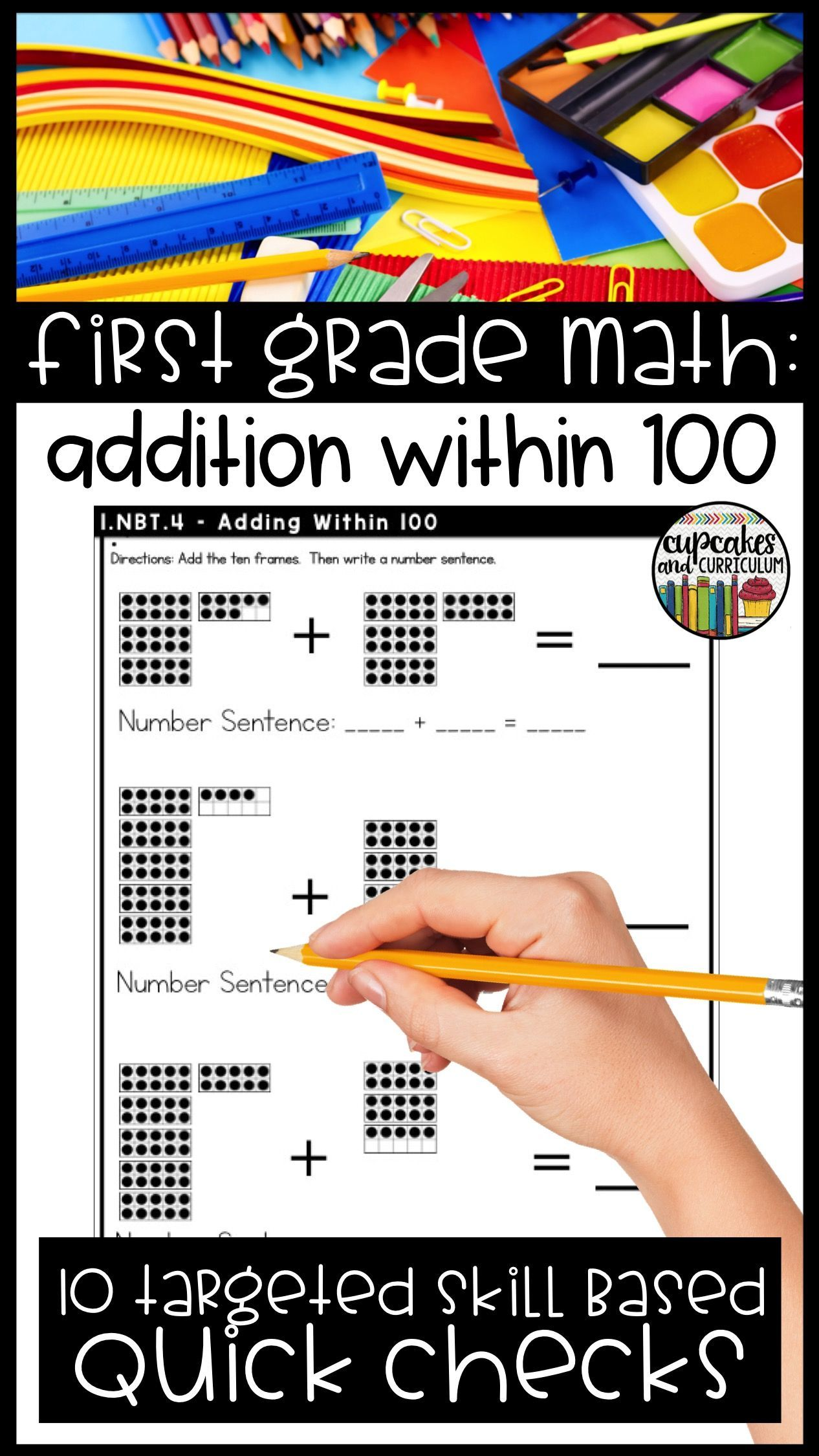 Adding Within 100 First Grade Math 1 Nbt 4 First Grade Math Math Skills Practice Math