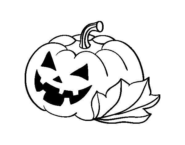 Dibujo de Calabaza Decorada de Halloween para Colorear | Dibujos de ...