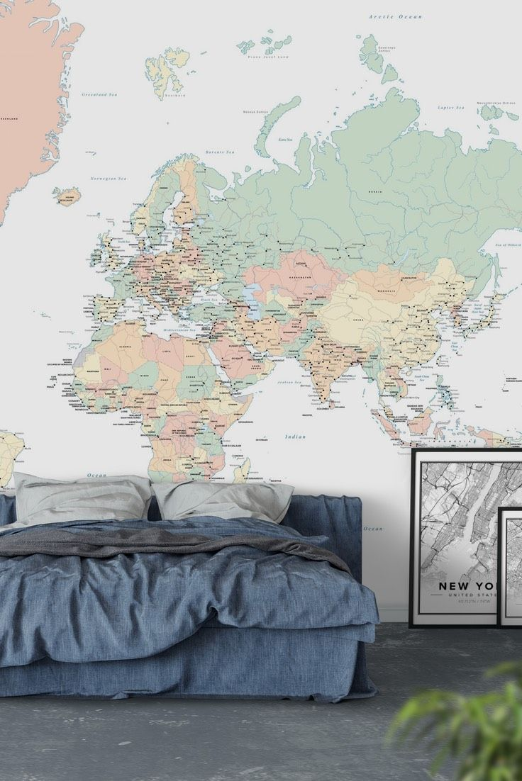 World map countries wall mural wall murals wallpaper paste and world map countries wall mural wallpaper gumiabroncs Image collections