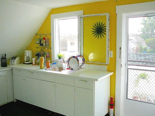 Bold Happy Yellow works wonderfully as the accent color on this one ...