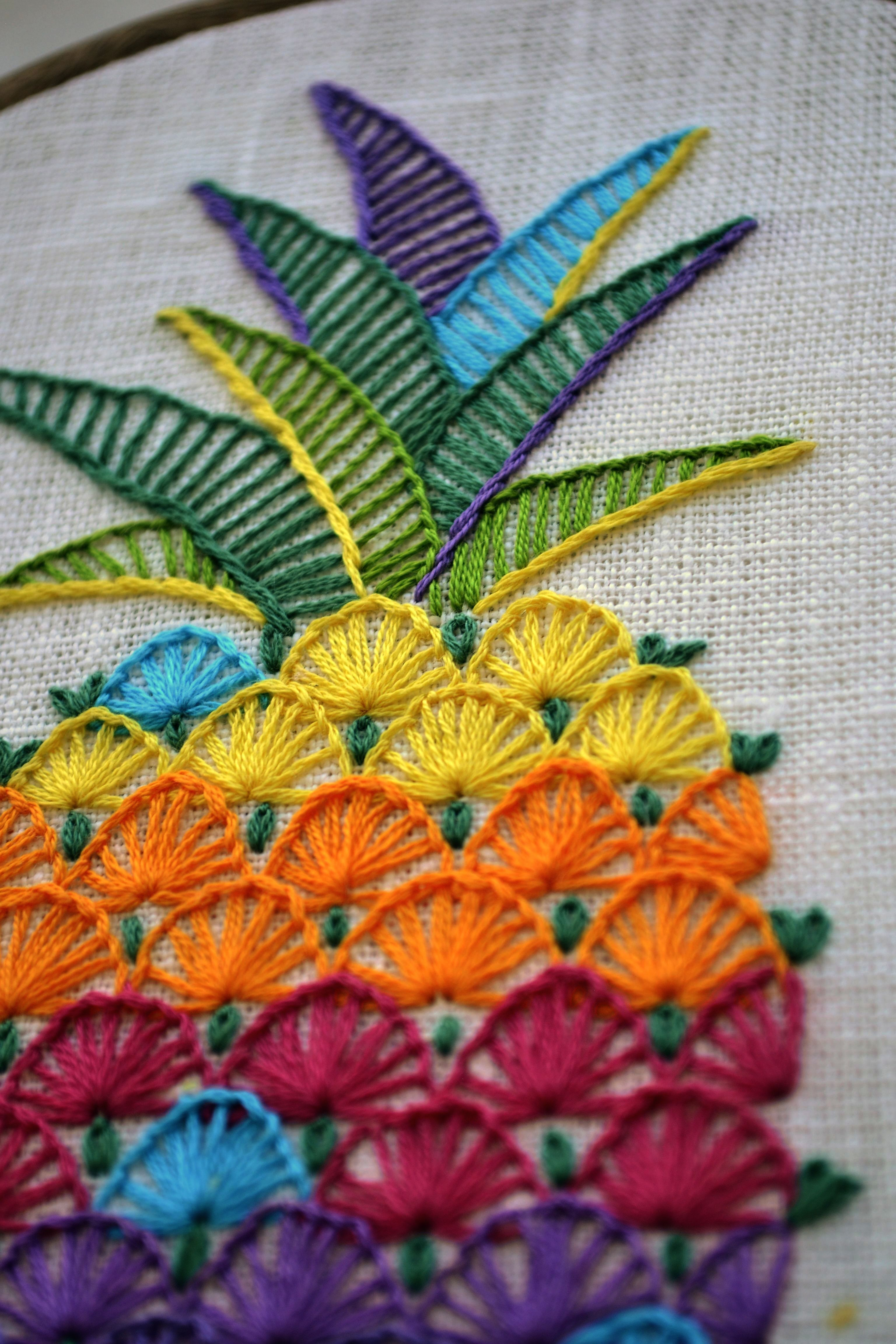 Pineapple Hand Embroidery Pattern Embroidery Patterns Hands Embroidery Ideas Bordados