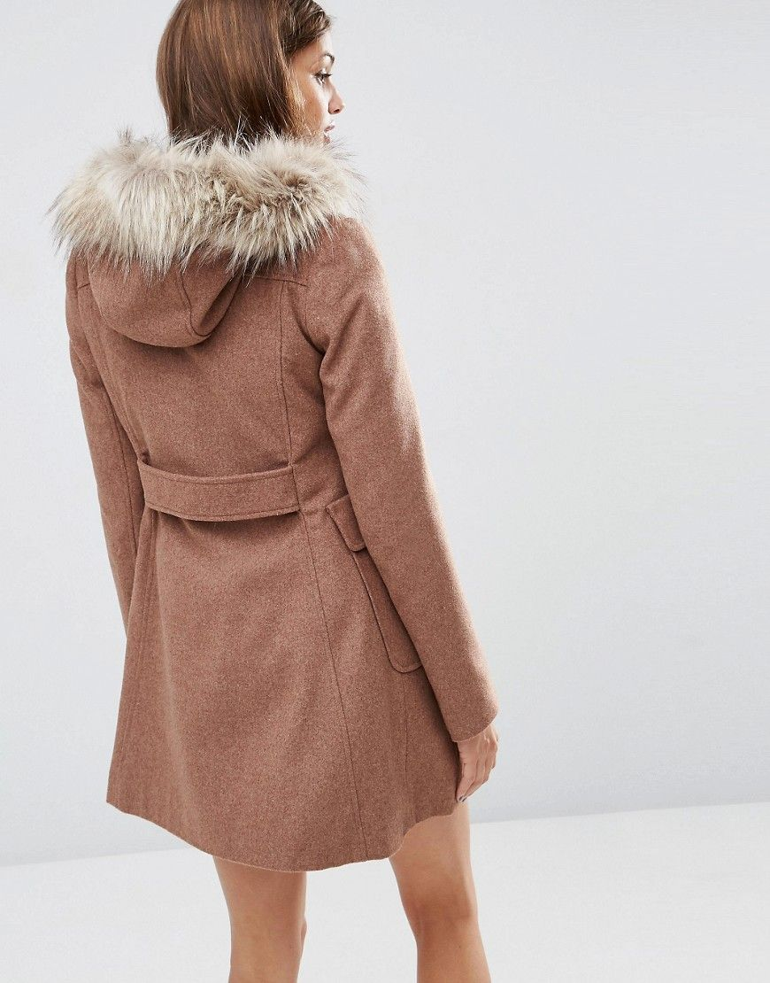 6f328f16aaa Image 2 of ASOS Wool Blend Faux Fur Hooded Duffle Coat