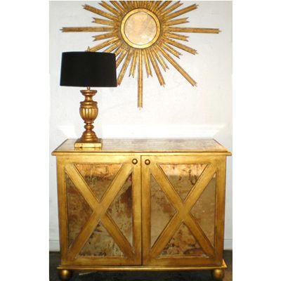 Office- Worlds Away Clayborn Mirrored Cabinet - Gold