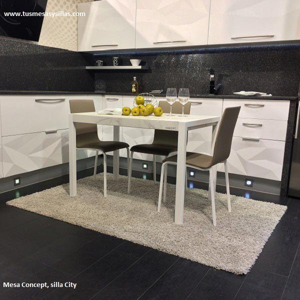 Mesa y sillas de cocina diseño moderno con encimera ceramica | Mesa ...