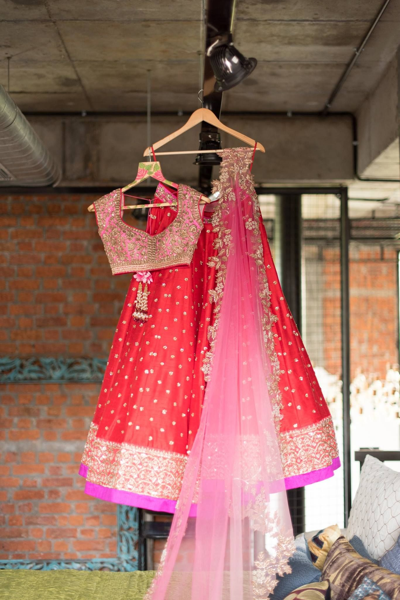 Anushree Reddy Bright Red Embroidered #Lehenga With Pink Embroidered ...