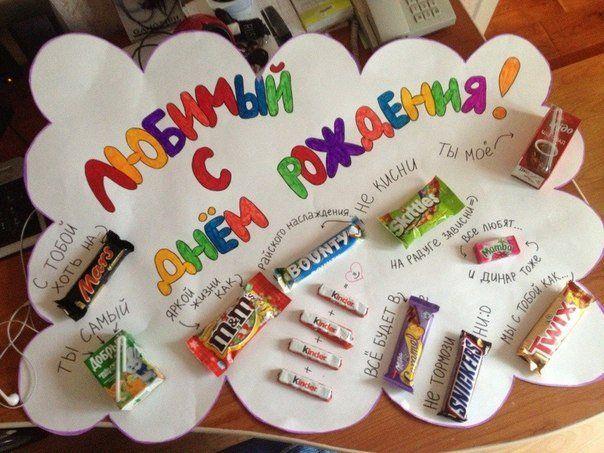 Плакат мужу на день рождения со сладостями (с ...
