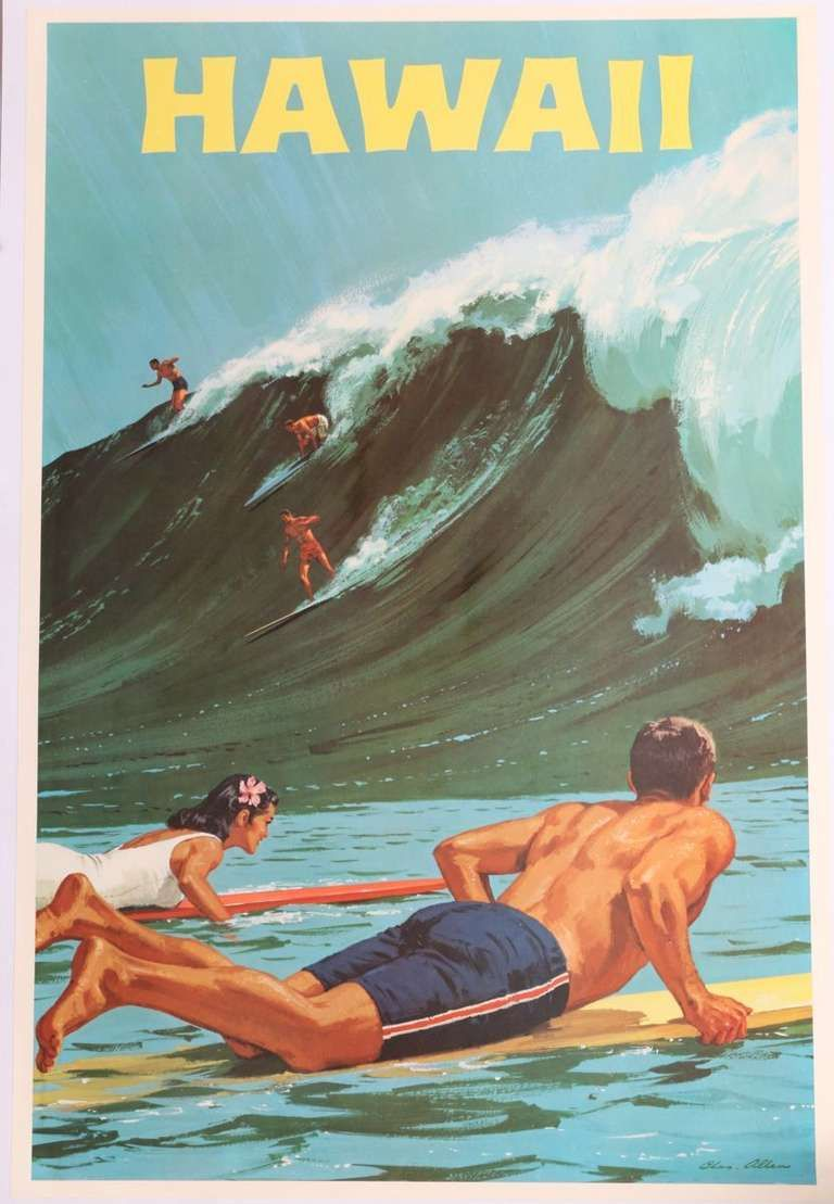 Rare Hawaii Surf Travel Poster By Chas Allen S Surfboards - Los angeles posters vintage
