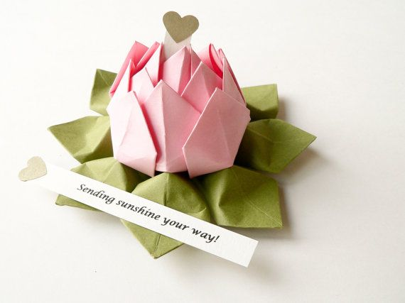 Personalized Origami Lotus Flower In Blossom Pink By Fishandlotus