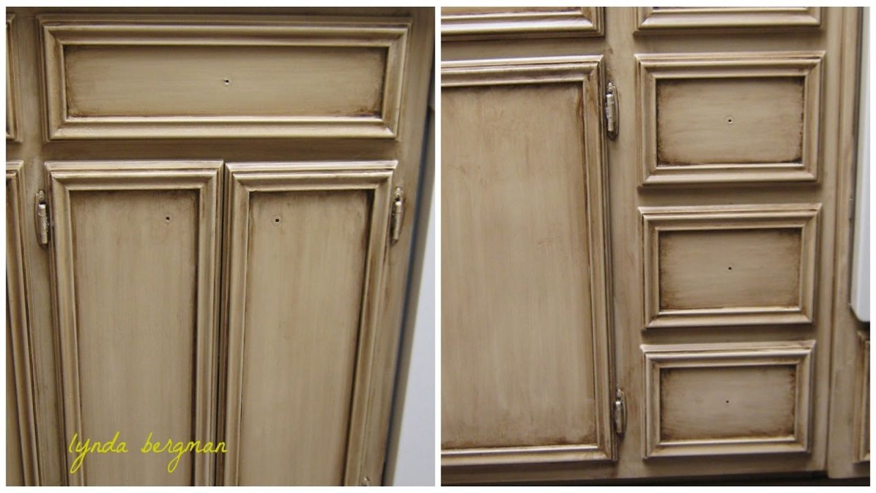 Kitchen Cabinets Painted And Distressed In Taupe Or Mushroom Antiquing Kitchen Cabinets Pa Old Kitchen Cabinets Painting Oak Cabinets Kitchen Cabinet Colors