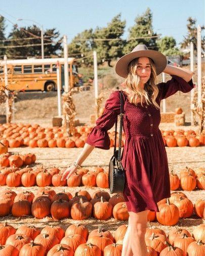 Kürbisbeet Fotoshooting / / Herbst Outfit / / bescheidene Kleider / / Pink Lily Boutique ...,... #pumpkinpatchoutfitwomen