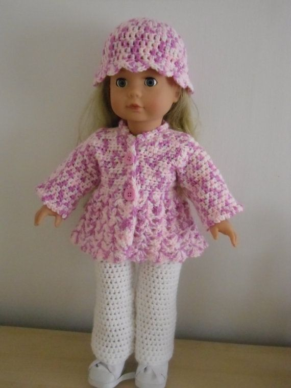 PDF Crochet pattern for 3 piece set for 18 inch doll, American Girl ...