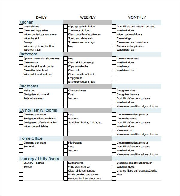Refreshing image intended for professional house cleaning checklist printable