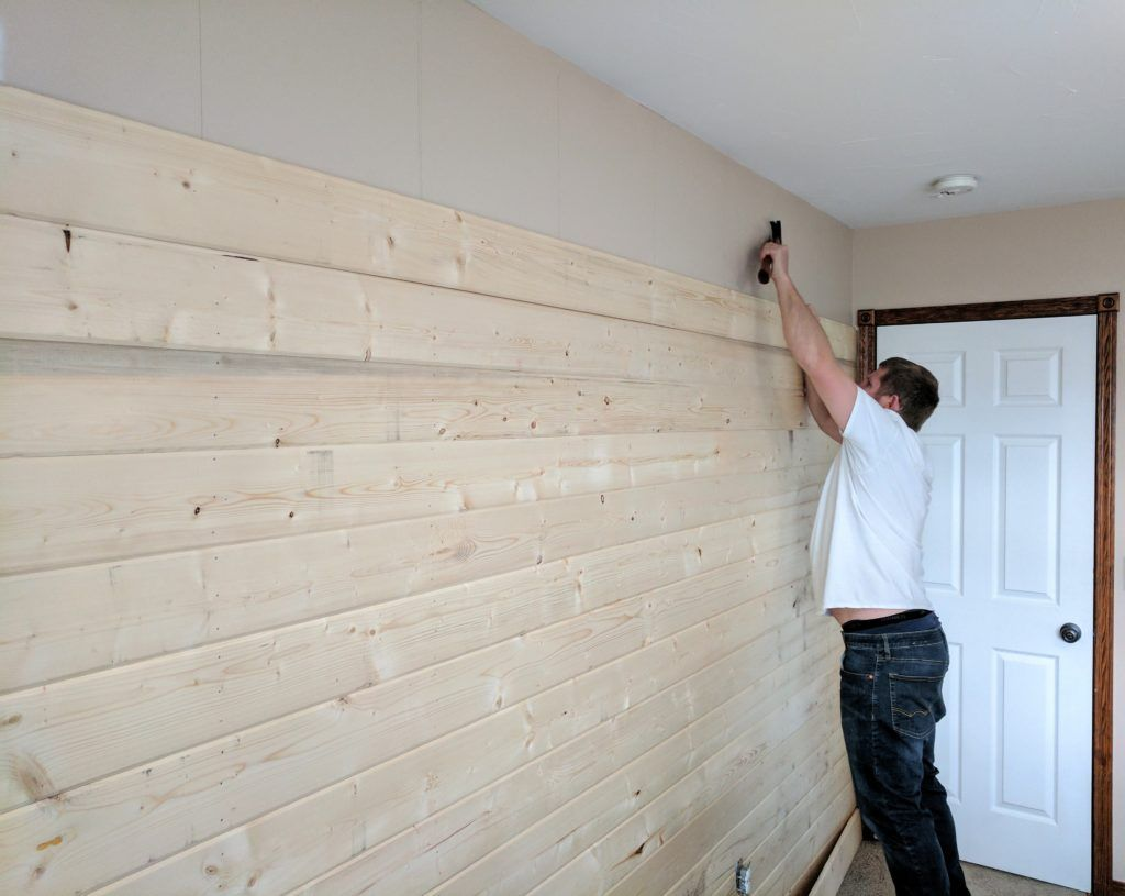 How To Build A Wood Plank Accent Wall Wood Planks Wood Accents Wood Plank Walls
