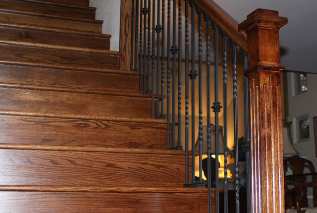 Esl Hardwood Floors Portfolio Hardwood Flooring Photo Gallery   Oak Stair Treads And Risers   Engineered   Riser Short Stringer   Diy   Solid Wood   Light Oak