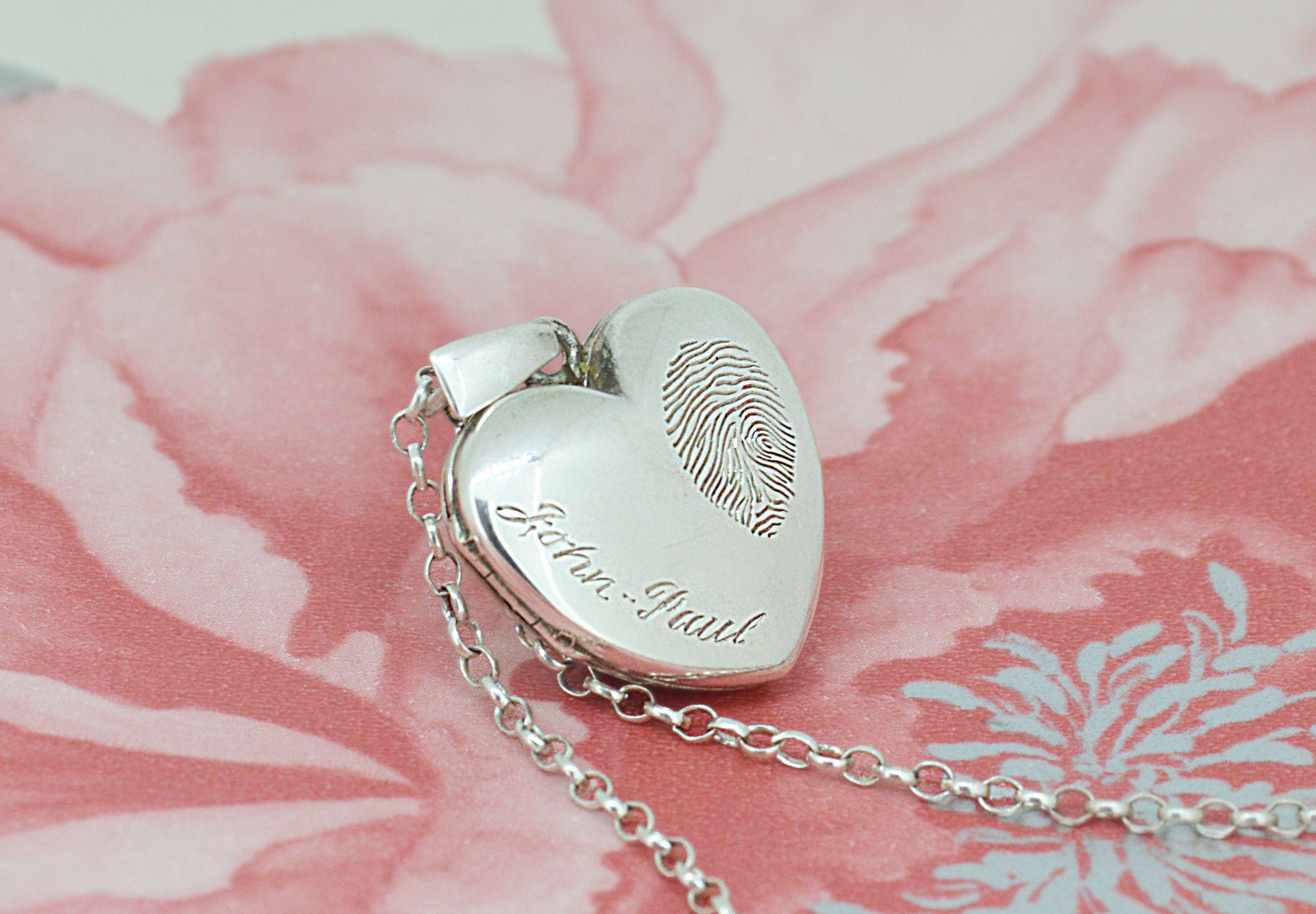 Hand engraved heart shaped fingerprint locket. Perfect for wedding ...