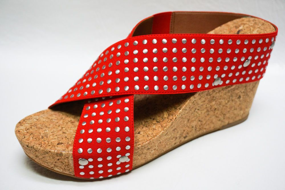 2011c204ef25ad Lucky Brand womens MILLER 2 Studded Mack Red platform wedges shoes 8.5 NEW   LuckyBrand  platformwedge  Casual