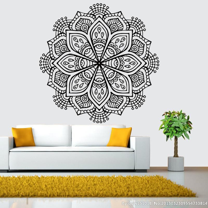 large wall stickers for living room india blue rugs buddhist art mandala removable waterproof home decoration decal mural 6 colors each
