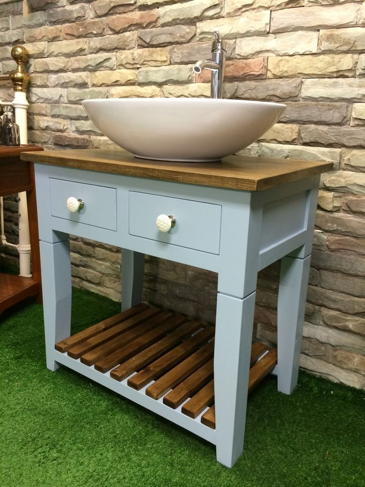 Handmade Bespoke Vanity Unit Washstand Oak Top Painted Furniture F B In Home Furniture Diy Bath Sinks Ebay Oak Vanity Unit Vanity Units Vanity