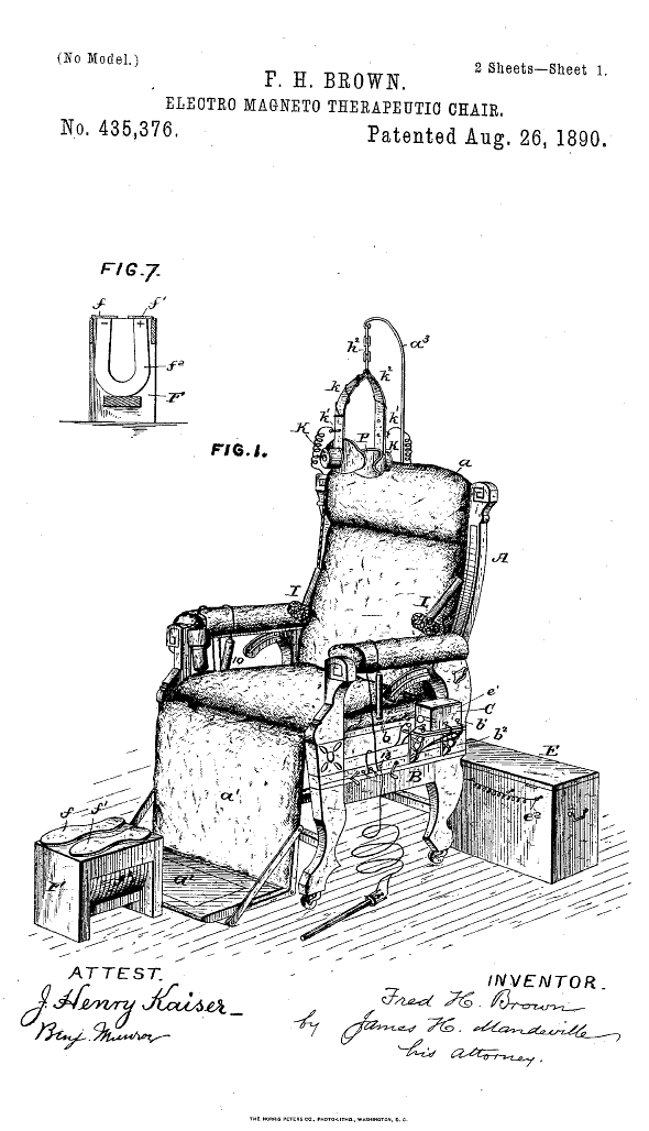 Electro Luxurious 14 The Happy Electric Chair 1890 Patent Prints Patent Drawing Therapeutic