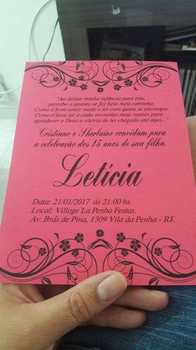 Convite Preto E Pink 15 Anos Feito Com Papel Colo Plus Fita De