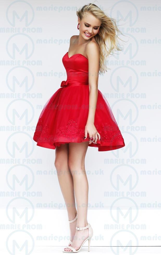 A Line Sherri Hill 21331 Red Girls Homecoming Dress