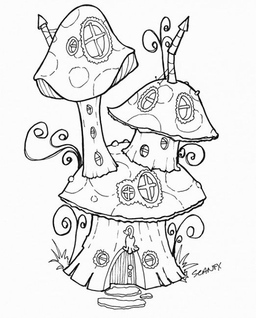 mushroom coloring pages - free printable of a mushroom fairy house more are on the