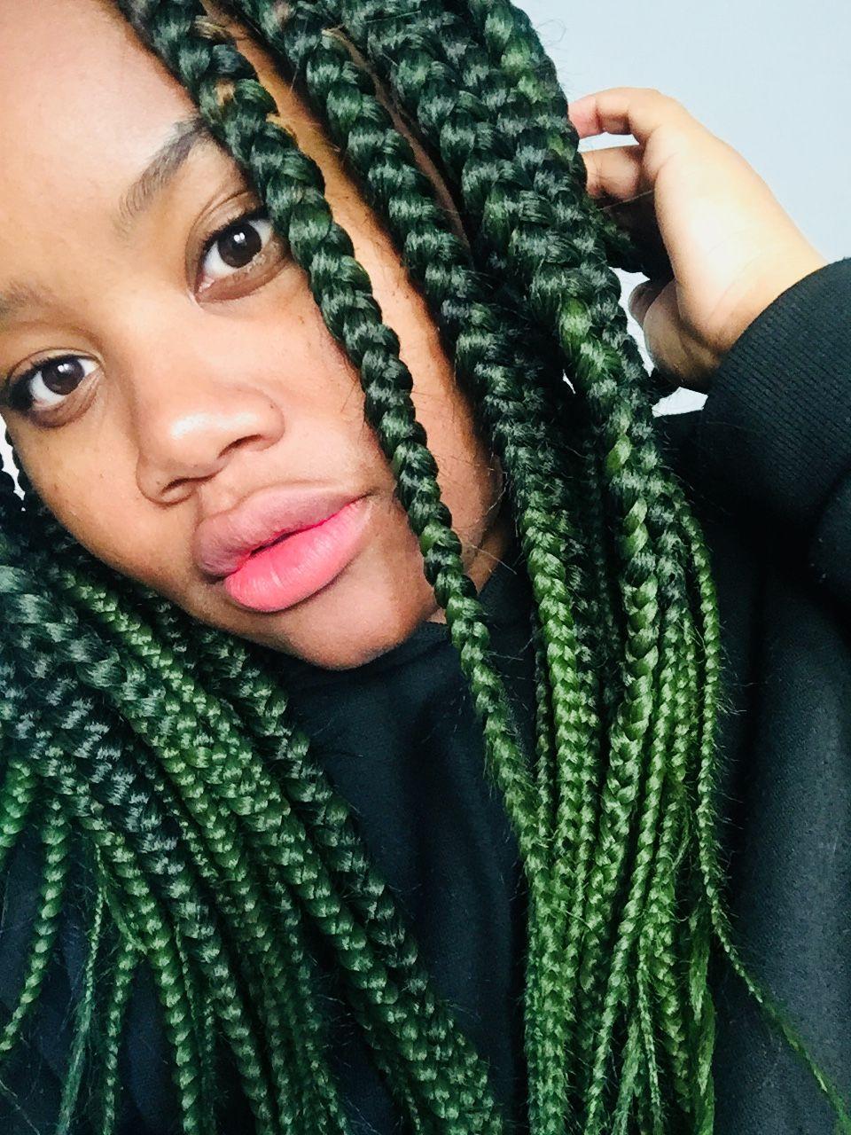 18++ Green box braids ideas